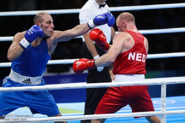 مشاهد من نزال الملاكمة بين الايراني احسان روزبهاني وغريمه الهولندي في اولمبياد ريو