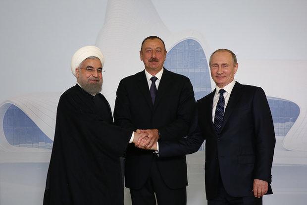 Iranian, Azerbaijani, Russian presidents sign Baku summit declaration