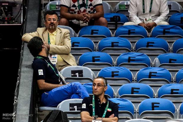 محمدرضا داورزنی رئیس فدراسیون والیبال در دیدار تیم های والیبال ایران و روسیه در المپیک2016ریو