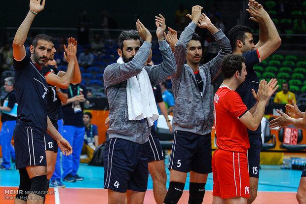 حمزه زرینی، سعید معروف و فرهاد قائمی در دیدار تیم های والیبال ایران و روسیه در المپیک2016ریو