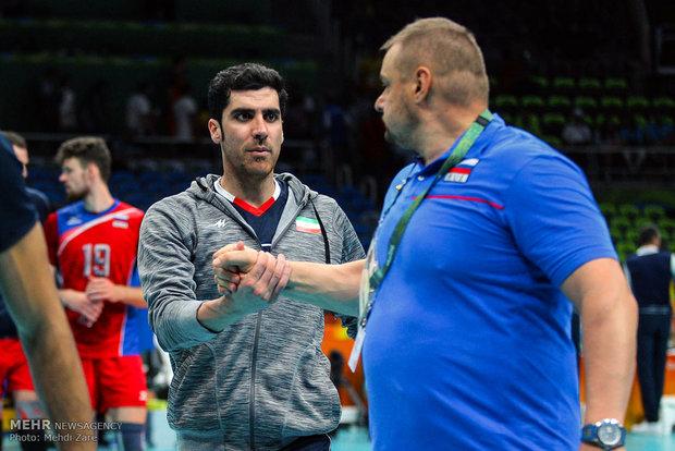 شهرام محمودی در دیدار تیم های والیبال ایران و روسیه در المپیک2016ریو