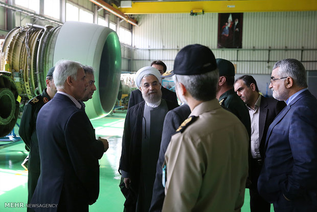Rouhani pays visit to AIO of Defense Ministry