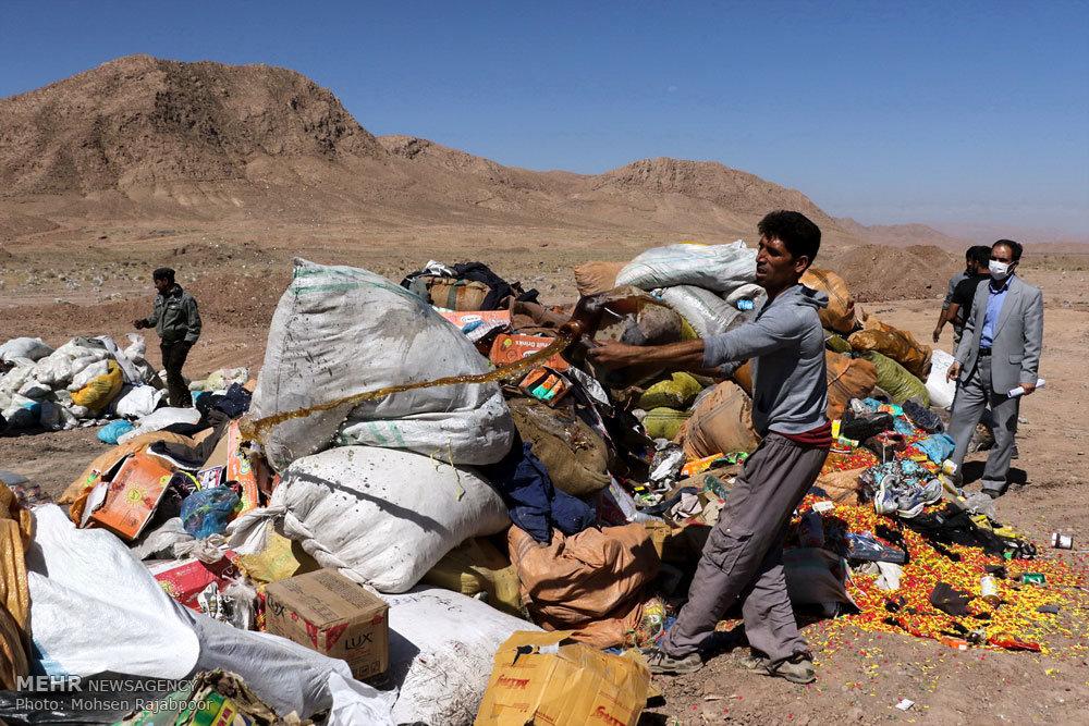 امحا محموله 20 تنی کالای قاچاق غیرقابل استفاده در کرمان
