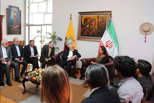 دیدار محمد جواد ظریف وزیر امور خارجه با گابرییلا ریبادنیرا رئیس مجلس اکوادور