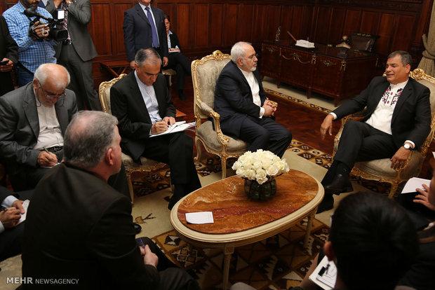 دیدار محمد جواد ظریف وزیر امور خارجه با رافائل کورهآ رییسجمهور اکوادور