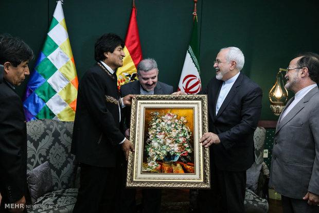 دیدار محمدجواد ظریف وزیر خارجه با اوو مورالس رئیسجمهور بولیوی