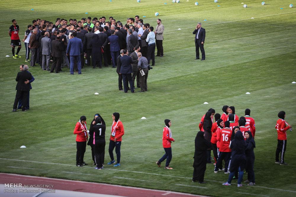 حضور معاون اول رئیس جمهور در تمرین تیم ملی فوتبال
