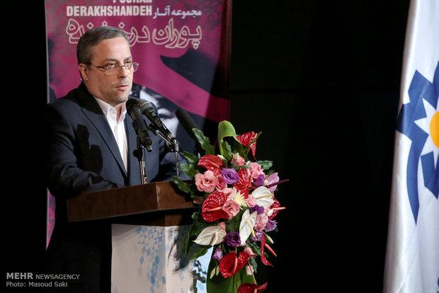 حضور سید مصطفی ابطحی، مدیرعامل موسسه رسانه های تصویری در آیین رونمایی از آثار پوران درخشنده