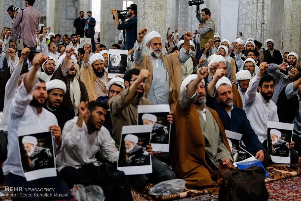 تجمع طلاب و روحانیان قم در اعتراض به سرکوب مردم بحرین