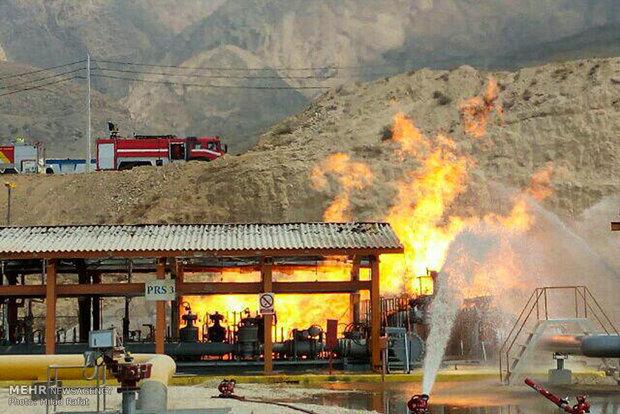 آتش سوزی ایستگاه گاز پتروشیمی مبین در عسلویه
