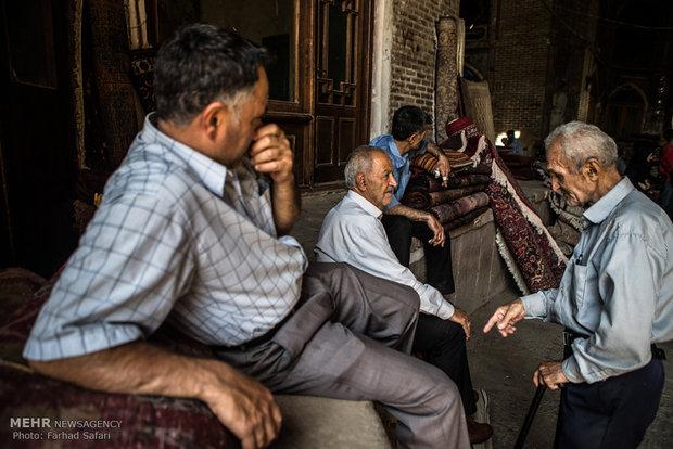 Qazvin's old bazaar of Persian rug