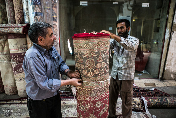 Qazvin's old bazaar of Persian rug