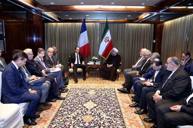 French President Francois Hollande meets President Rouhani on Tuesday on the sidelines of the 71st United Nations General Assembly in New York.