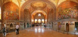 the interior of the Safavid-era Chehel Sotoun pavilion situated in the heart of Isfahan