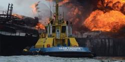 احتراق ناقلة نفط قبالة سواحل المكسيك