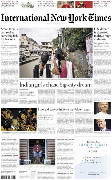 صفحه اول روزنامههای انگلیسی ۵ مهر ۹۵