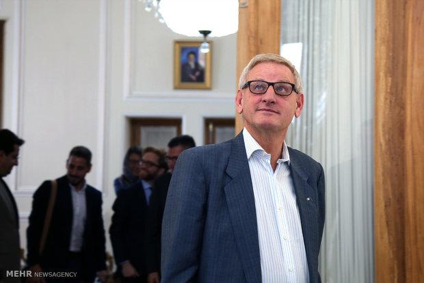 دیدار کارل بیلدت نخست وزیر و وزیر خارجه سابق سوئد با  محمد جواد ظریف وزیر امور خارجه