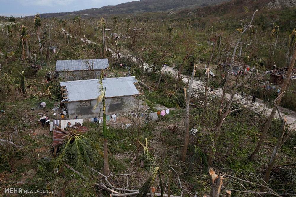 تصاویر هوایی از خسارات طوفان متیو