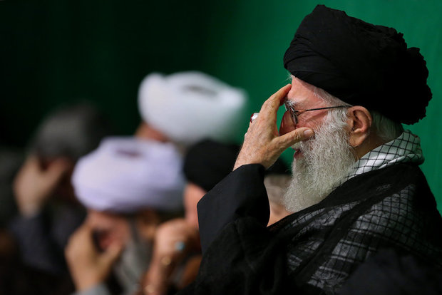 Ayatollah Khamenei attends a Muharram mourning ceremony on the night of Tasua