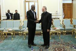 دیدار عبدالله مابری وزیر امور خارجه ساحل عاج با علی لاریجانی رئیس مجلس شورای اسلامی