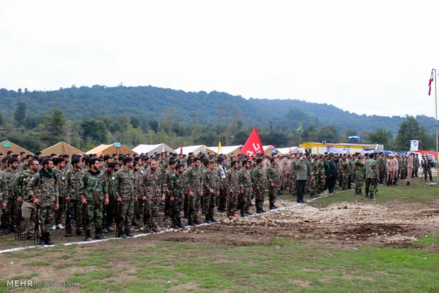 Military drill in northern forest
