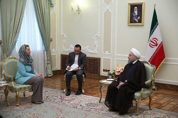 Mogherini, Rouhani hold talks on economic coop.