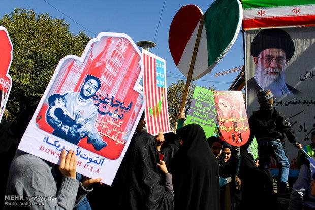 Tebriz'de Amerika protesto edildi