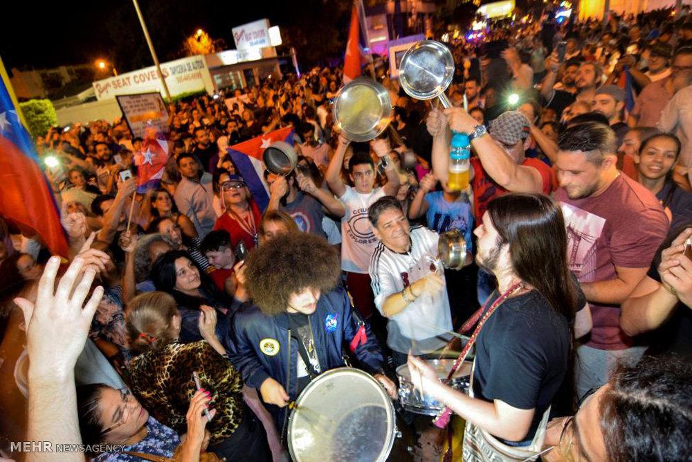 پایکوبی ضد انقلابیون کوبا پس از درگذشت کاسترو