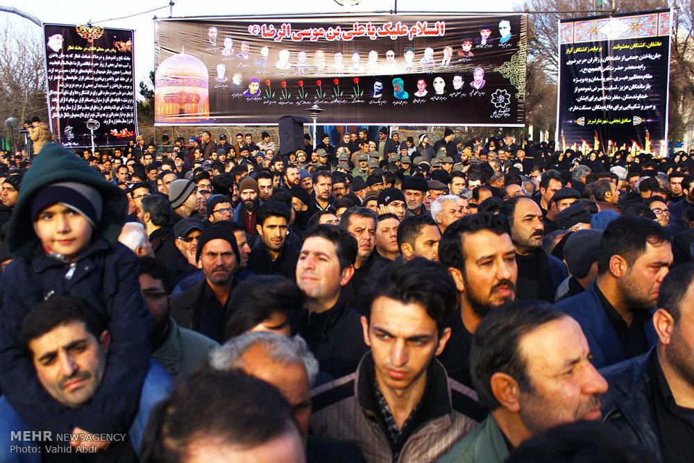 مراسم تشییع پیکر جانباختگان حادثه قطار