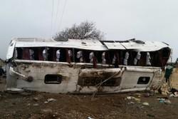 مصدوم شدن ۳۱ مسافر  بر اثر واژگونی اتوبوس در محور نیشابور به مشهد
