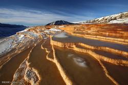 Badab-e Surt stepped travertine terraces