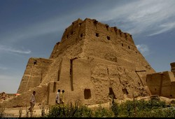 A view of the historical Seb Castle in southeastern Iran