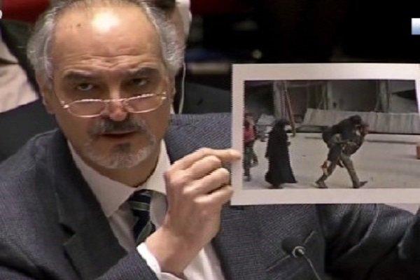 فیلم/تصاویری که نماینده سوریه در سازمان ملل مقابل دوربین گرفت