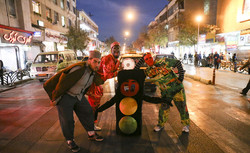 A group of people put on a public performance on Tuesday in Shiraz, Fars province, to motivate a change in attitude and road use behavior. Photo by Reza Qaderi/IRNA