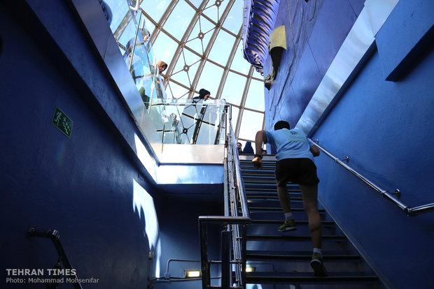 Stair climbing at Tehran's Milad Tower