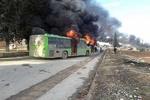 فیلم/به آتش کشیده شدن اتوبوس ها قبل از ورود به کفریا و الفوعه