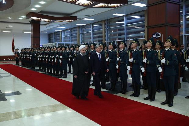 Pres. Rouhani arrives in Bishkek