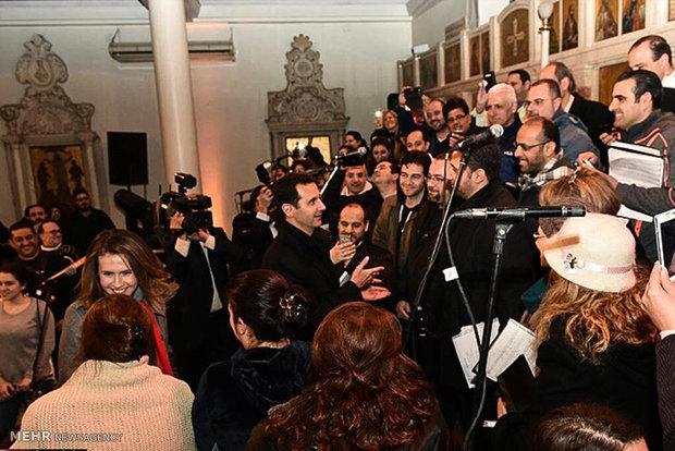 حضور بشار اسد در کلیسایی در دمشق