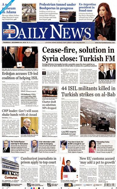 صفحه اول روزنامههای انگلیسی ۹ دی ۹۵