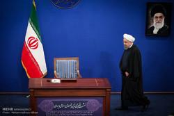 Ruhani'nin basın toplantısından kareler