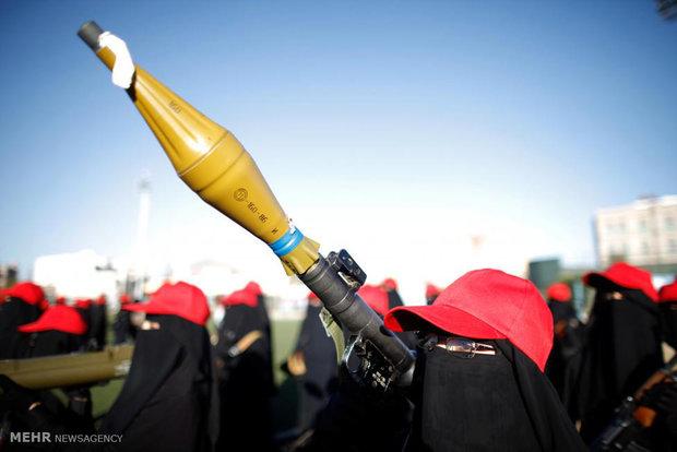 رژه زنان مسلح انصارالله در یمن