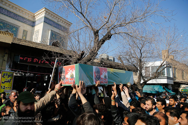 Funeral procession of two martyred defenders of holy shrine in Qom