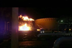 Fire hits oil storage tank in southern Tehran