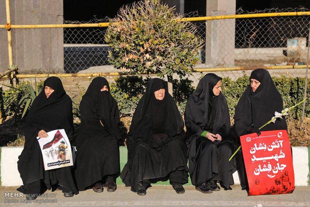 Funeral of martyred firemen in frames