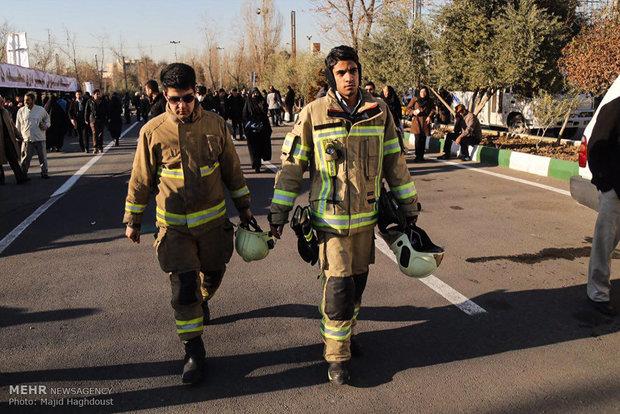 بدء مراسم تشييع شهداء الأطفاء ضحايا بلاسكو