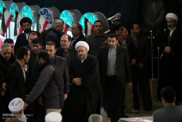 Iranian senior officials attend firemen's funeral