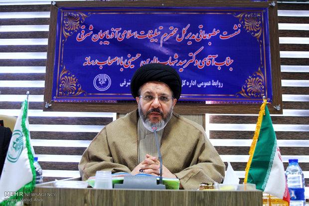 نشست مطبوعاتی سید شهاب الدین حسینی مدیرکل تبلیغات اسلامی آذربایجان شرقی