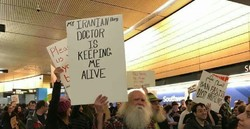 Protests have broken out at the John F Kennedy (JFK) International Airport in New York City in respond to Trump's visa ban.