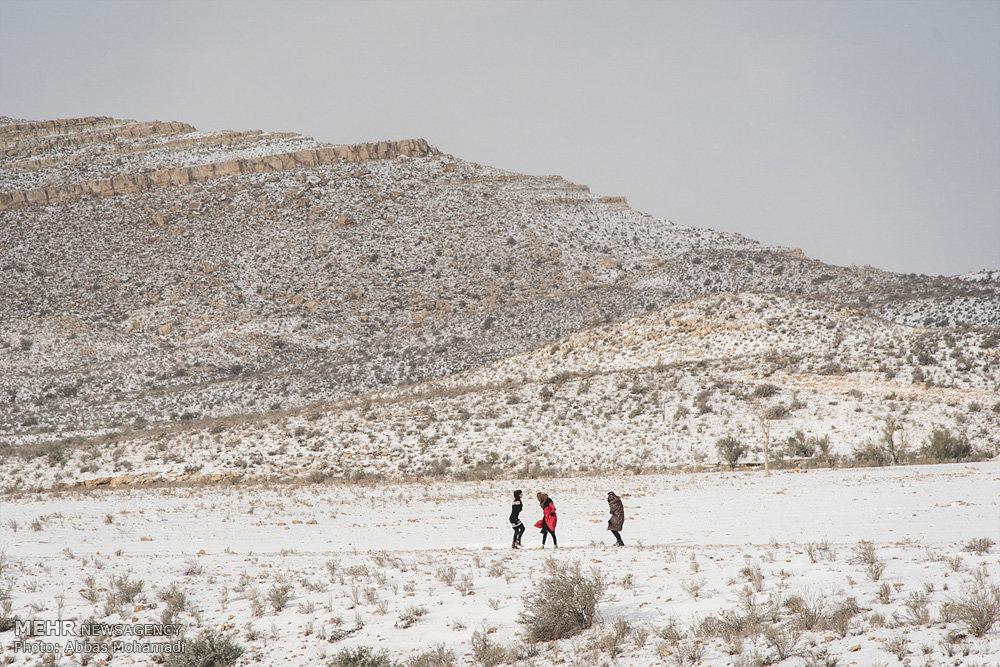 اولین بارش برف در شهرستان گرمسیری لامرد
