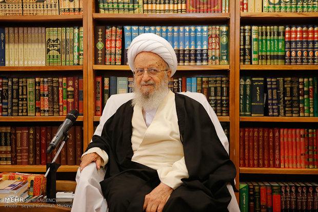 دیدار علی اکبر صالحی رئیس سازمان انرژی اتمی با علما و مراجع قم /  آیت الله مکارم شیرازی